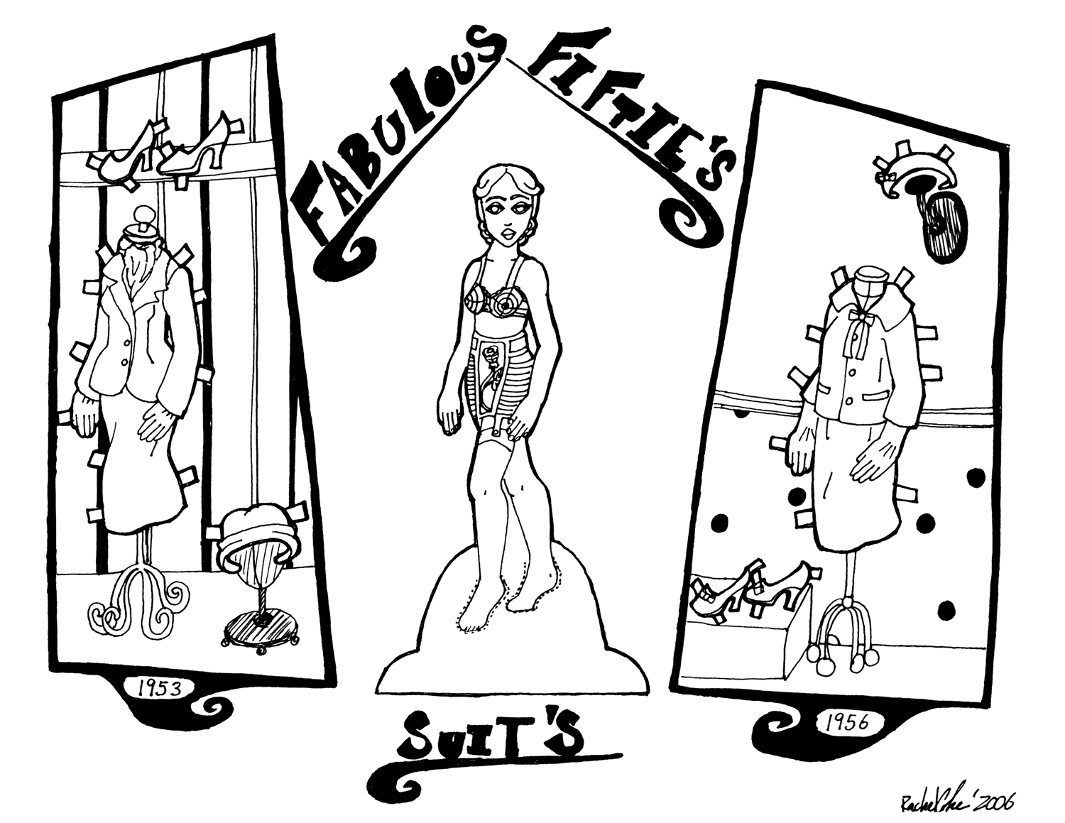 Vintage coloring pages 1950s ~ Historical Paper Dolls to Print From 900 to 1970