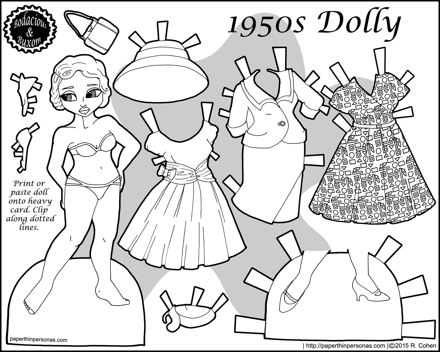 A printable paper doll with a 1950's vintage wardrobe in black and white. She has a suit, a cocktail dress and a day dress.