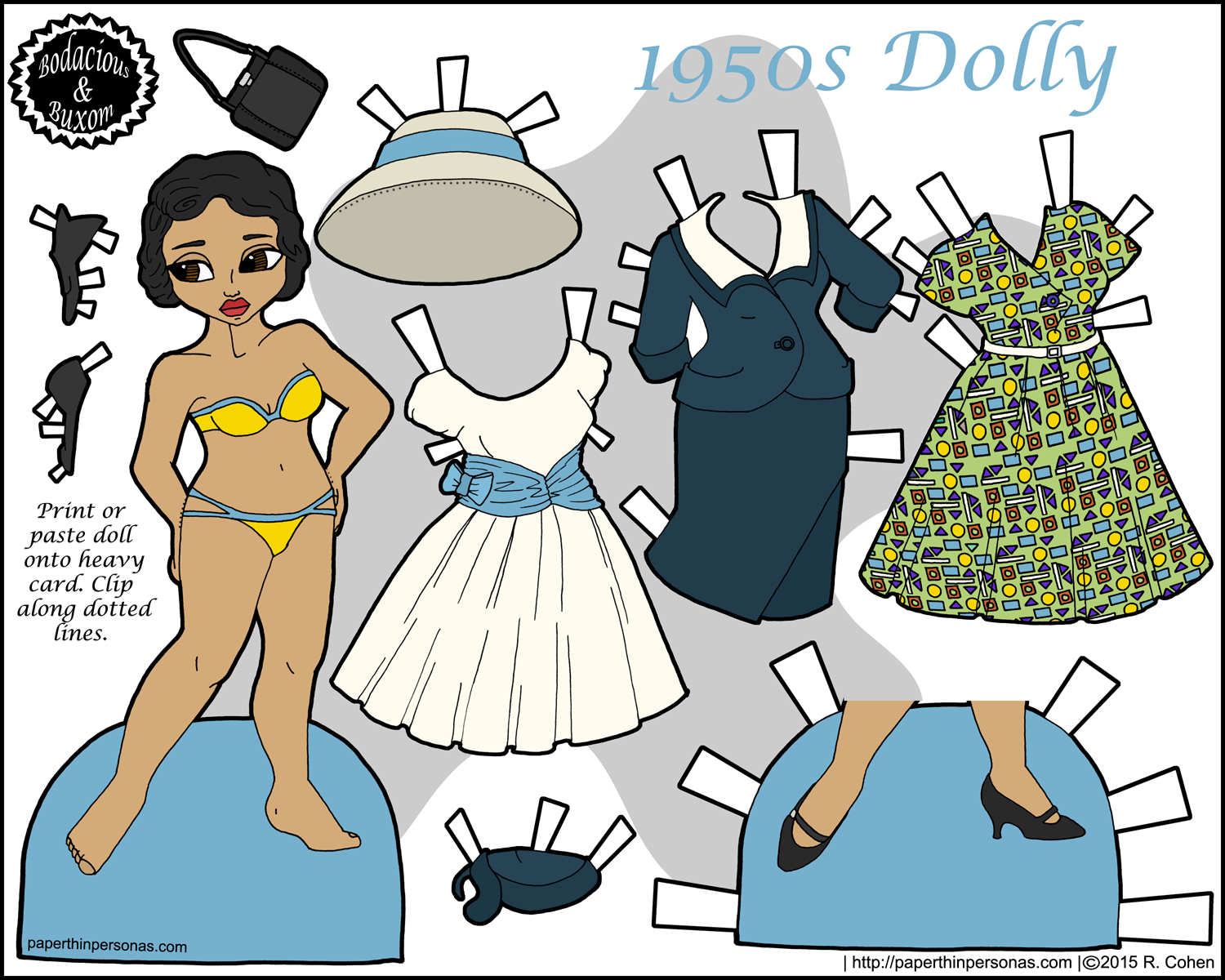 A printable paper doll with a 1950's vintage wardrobe in color. She has a suit, a cocktail dress and a day dress.
