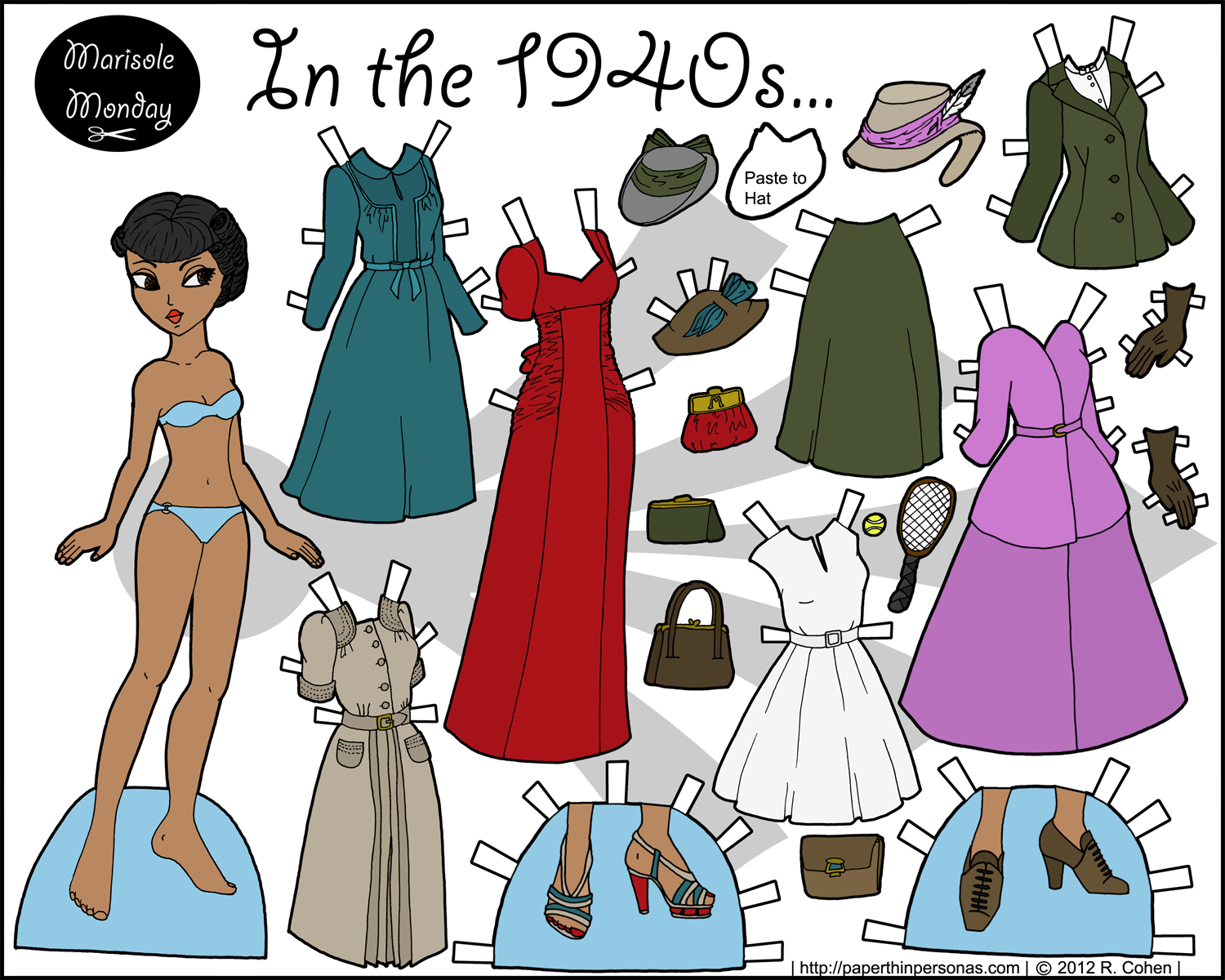 An printable black paper doll with 1940's clothing in color