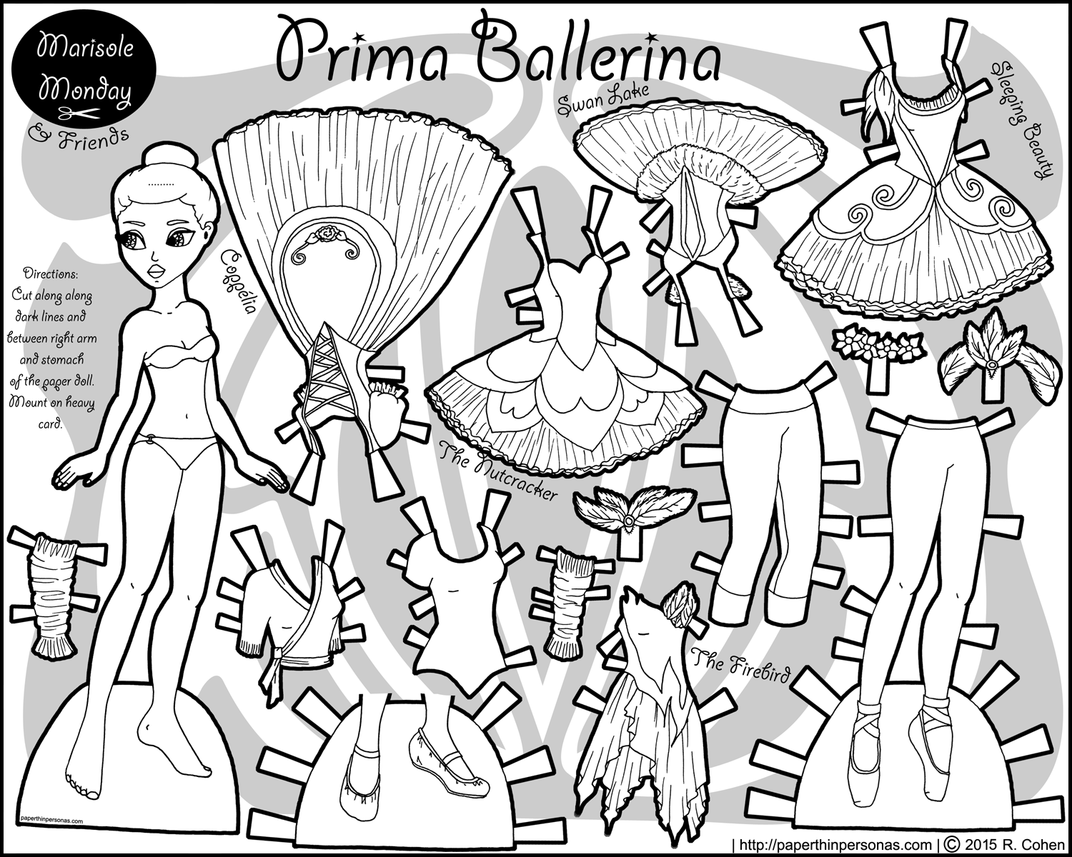 A black and white printable african-american ballerina paper doll with costumes from the ballets Coppelia, The Nutcracker, Swan Lake, Sleeping Beauty, and The Firebird.