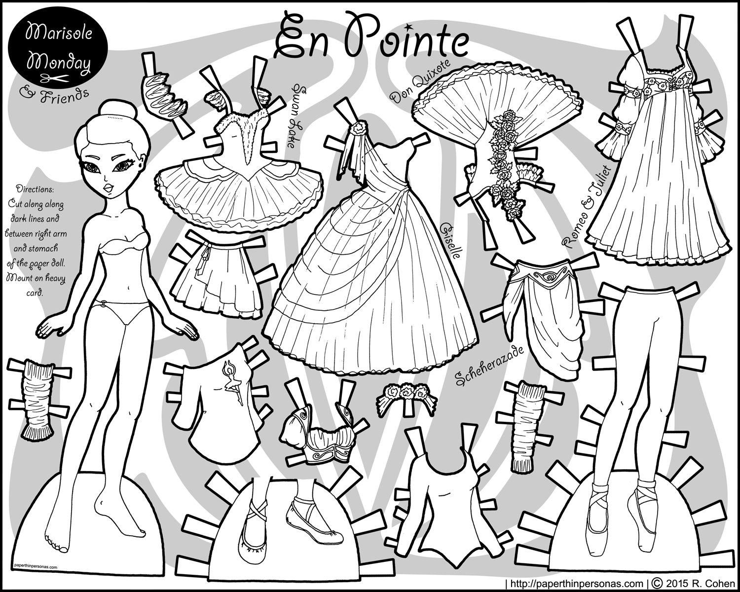A black and white printable Asian ballerina paper doll with costumes from the ballets Gisselle, Scheherazade, Swan Lake, Romeo & Juliet, and Don Quixote.