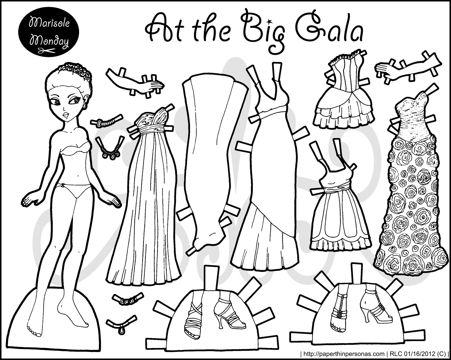 Some sets in black and white paper thin personas for Paper doll coloring page
