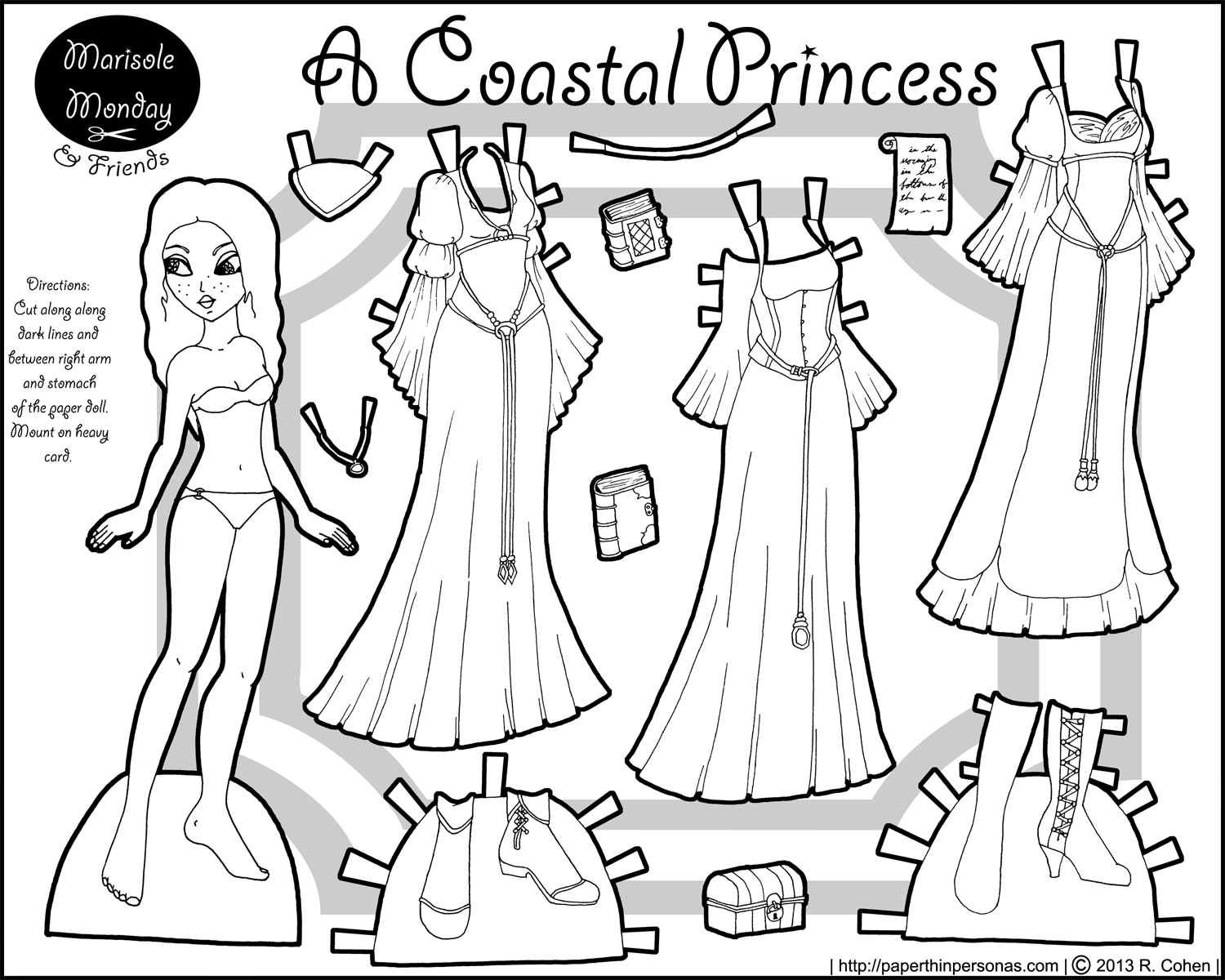 Marisole Monday Coastal Princess Paper Thin Personas Paper Princess Coloring Pages