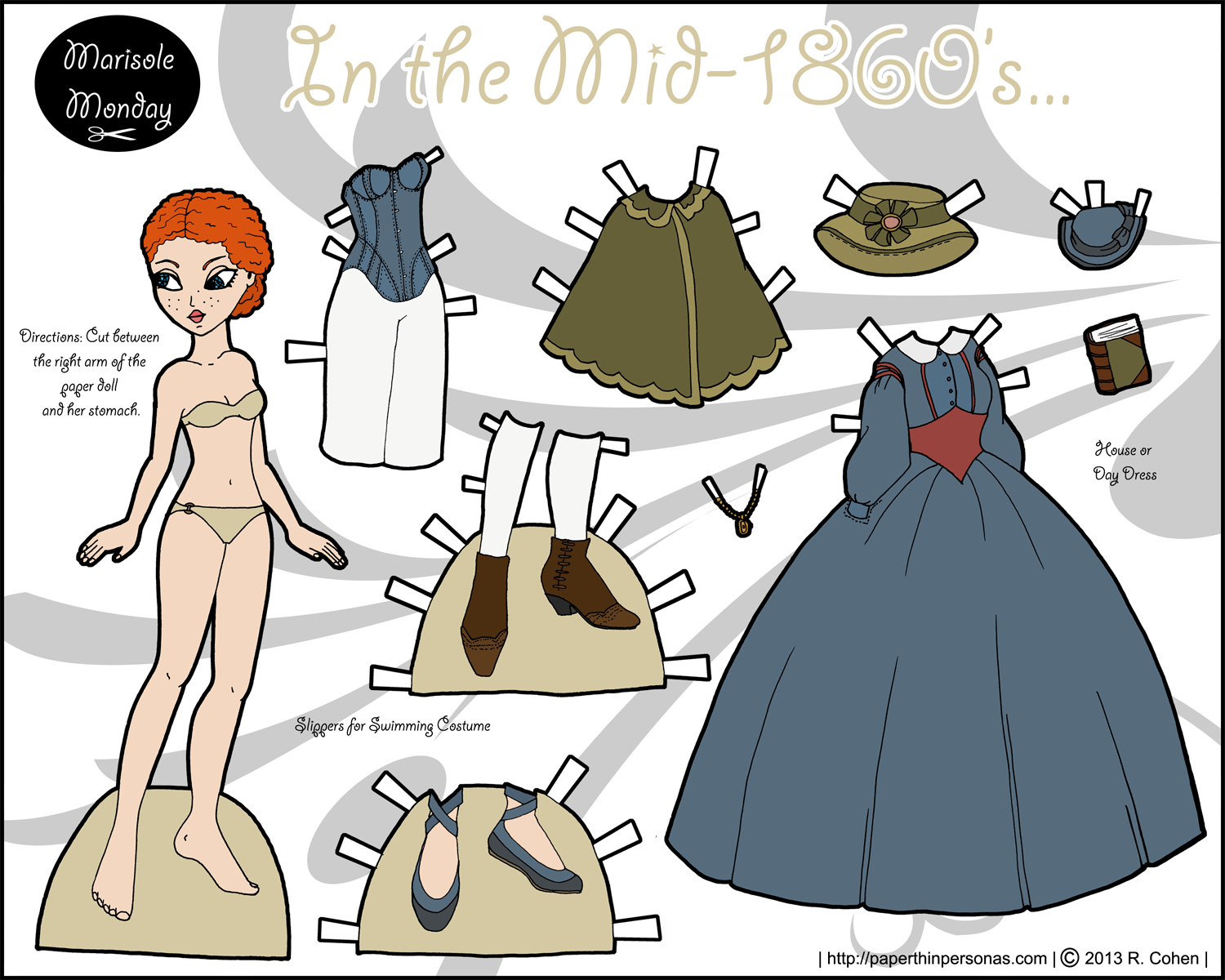 A historical paper doll with 1860s fashions in color- free to print from paperthinpersonas.com.
