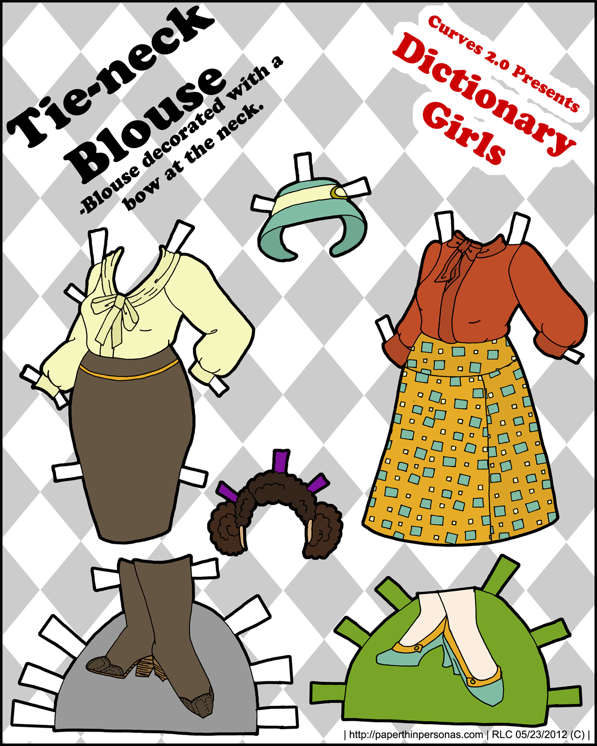 A pair of 1970's inspired tie neck blouses with skirts for the Dictionary Girls series of full figured