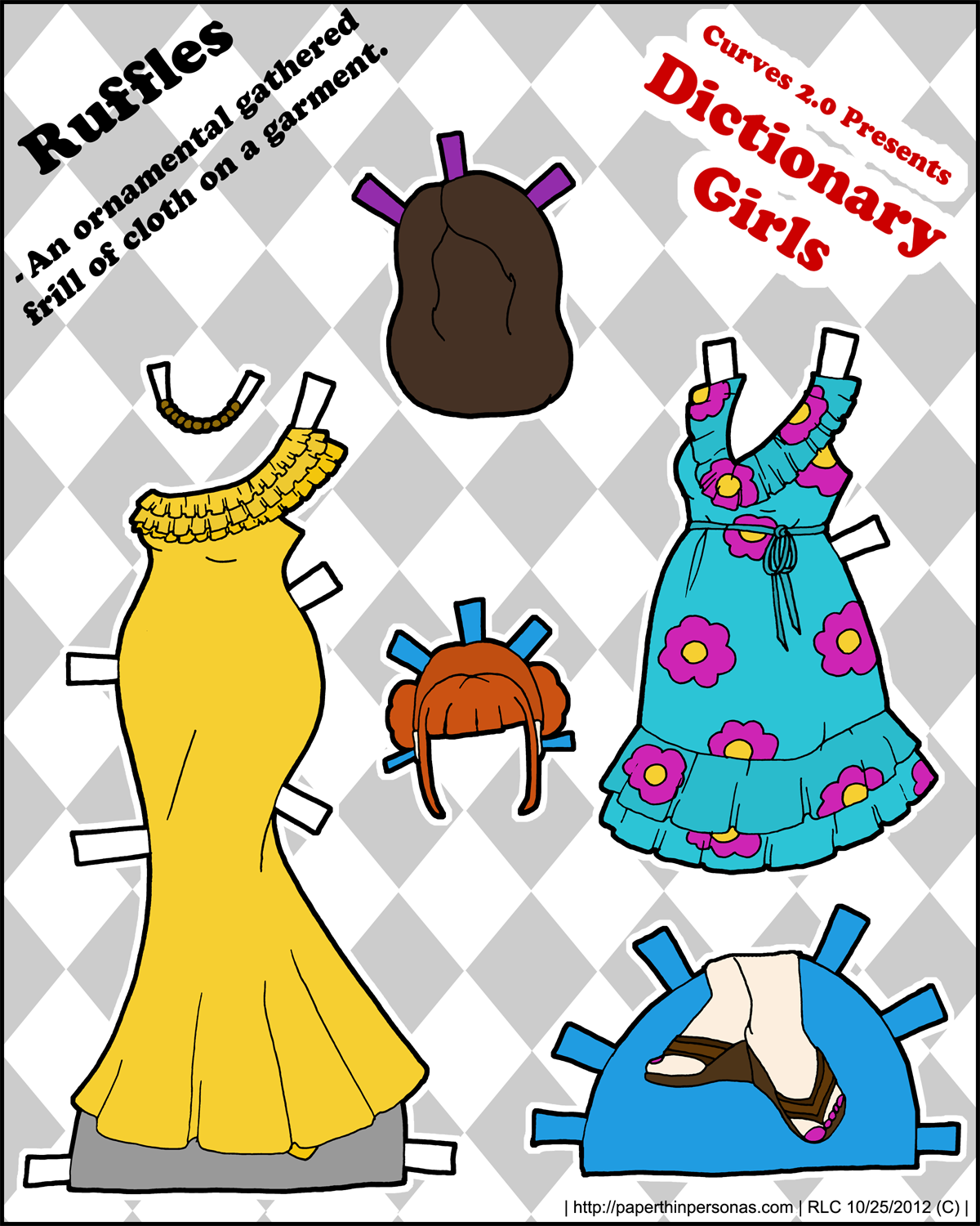 A Pair of evening gowns for a paper doll