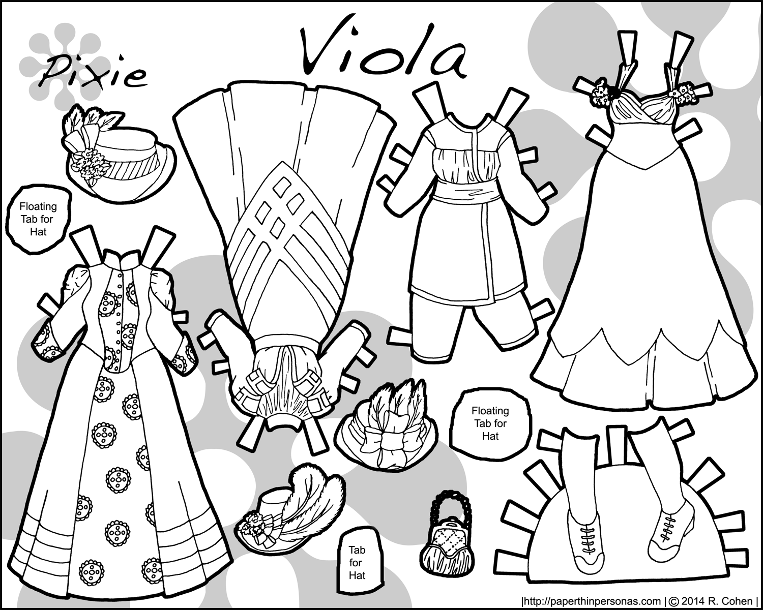 An 1890s paper doll wardrobe to print and color for free from paperthinpersonas.com