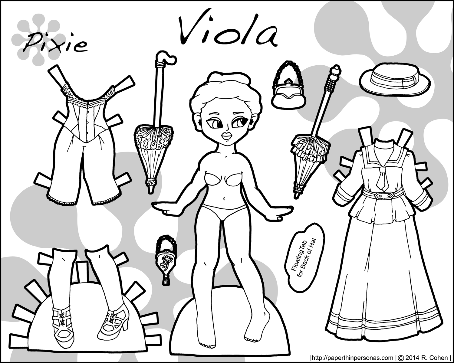 A historical paper doll with 1890s fashions to color- free to print from paperthinpersonas.com.
