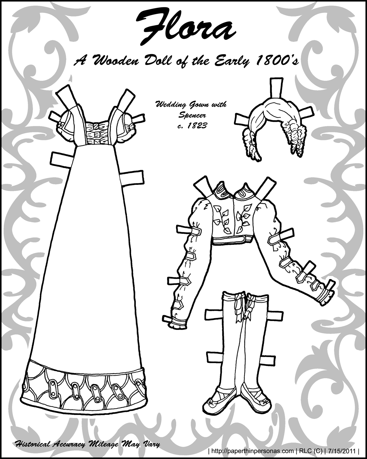 Historical paper doll clothes from the regency era to color- free to print from paperthinpersonas.com.