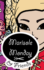 Marisole Monday and Friends Logo and Link to free printable Marisole Monday paper doll with ballgowns inspired by Wa and Qi Lolita styles