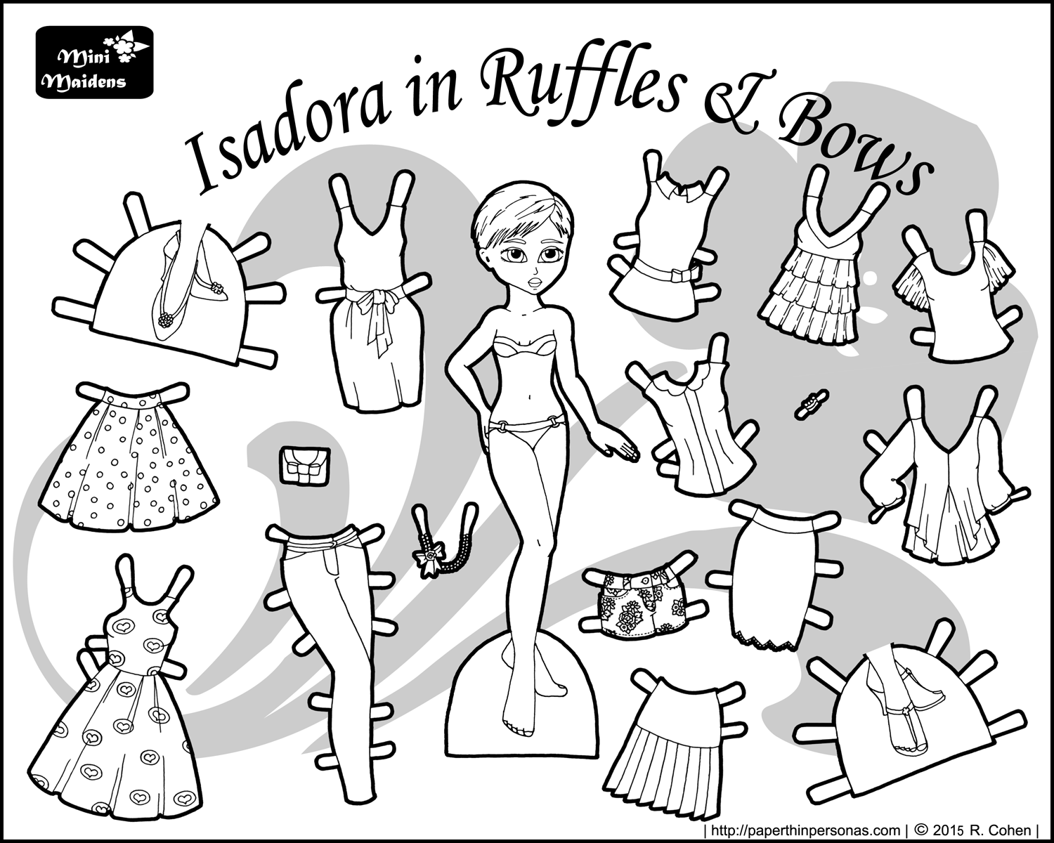 A black and white printable paper doll named Isadora with a 16 piece wardrobe. As part of the Mini-Maiden's series she can share clothing with the other Mini-Maidens.