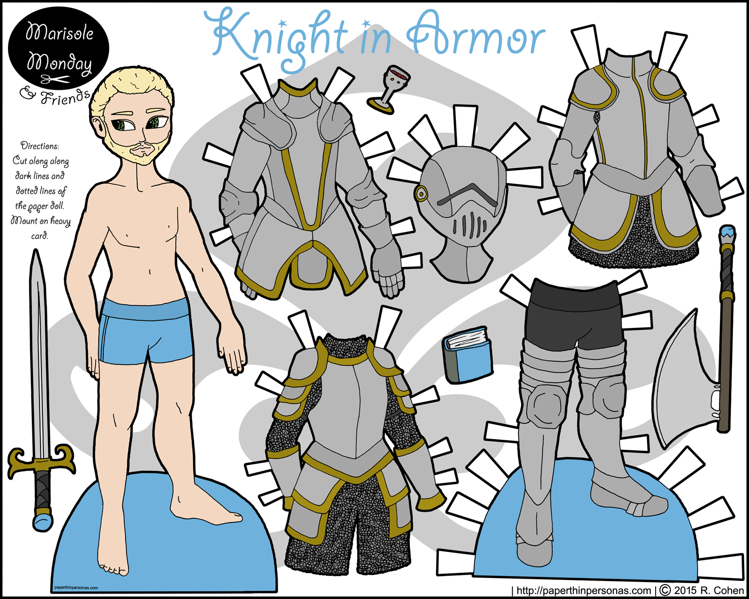 A printable knight paper doll in color with five inter-changeable pieces of armor.