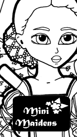 Link to a fantasy paper doll coloring page with three dresses: Isadora Goes to the Ball. As part of the Mini-Maidens series, Isadora can share clothing with any of the other Mini-Maiden paper doll.
