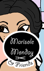Marisole Monday and Friends Logo and Link to a printable paper doll of a young woman with a contemporary wardrobe in pastels