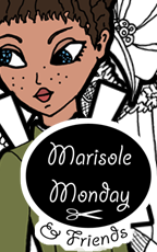 Marisole Monday and Friends Logo and Link to free printable Marisole Monday paper doll based on the historical period of 1880s in black and white or in color