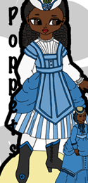 Peach In the Park is a paper doll of a black Victorian child doll inspired by BJDs with her own antique fashion doll. She has one dress based on a 1869 fashion plate, shoes, a hat, and a doll. The doll has a dress of her own, also based on an 1869 fashion plate. Peach is part of the Poppet paper doll series and can share clothing with the other Poppet paper dolls.