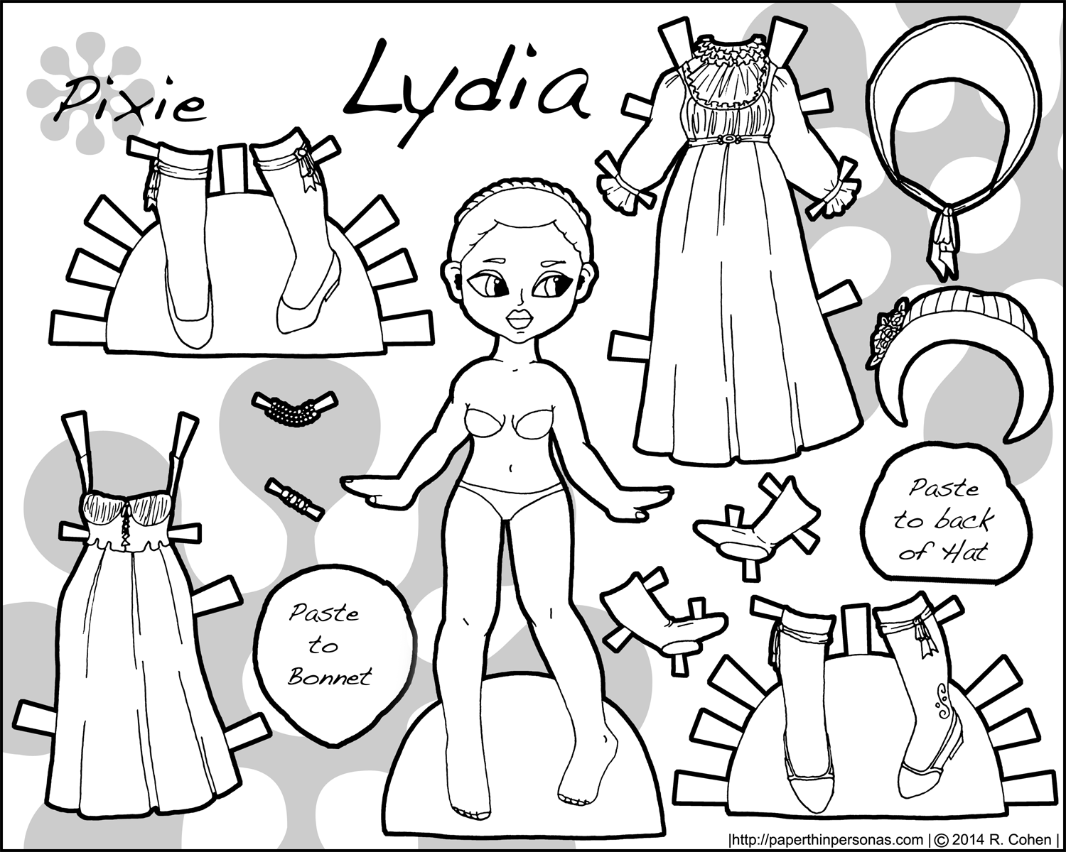 A historical paper doll with regency fashions to color- free to print from paperthinpersonas.com.