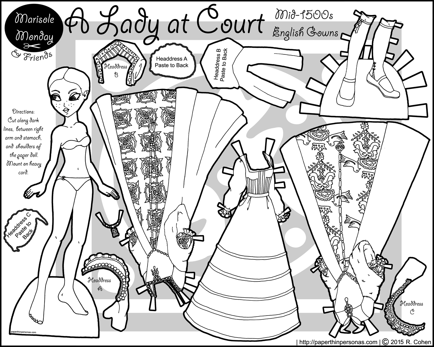 A historical paper doll in Tudor dress from the mid-1500s for printing and coloring from paperthinpersonas.com