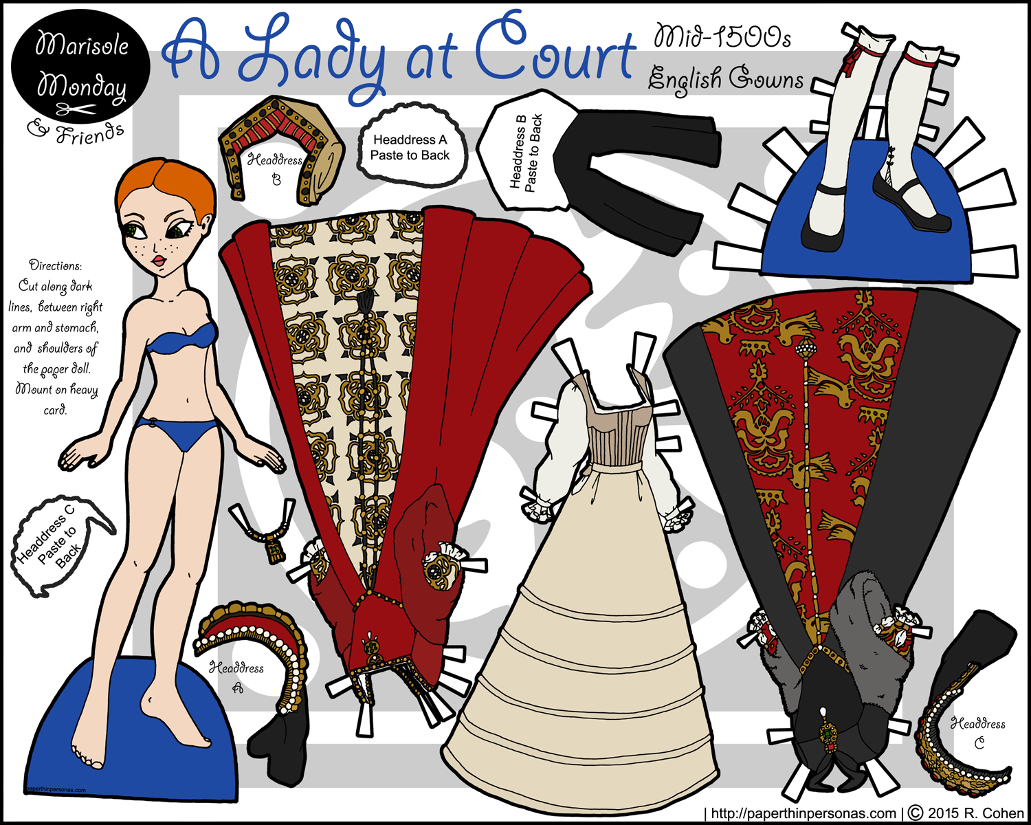 A historical paper doll in Tudor dress from the mid-1500s in full color for printing from paperthinpersonas.com