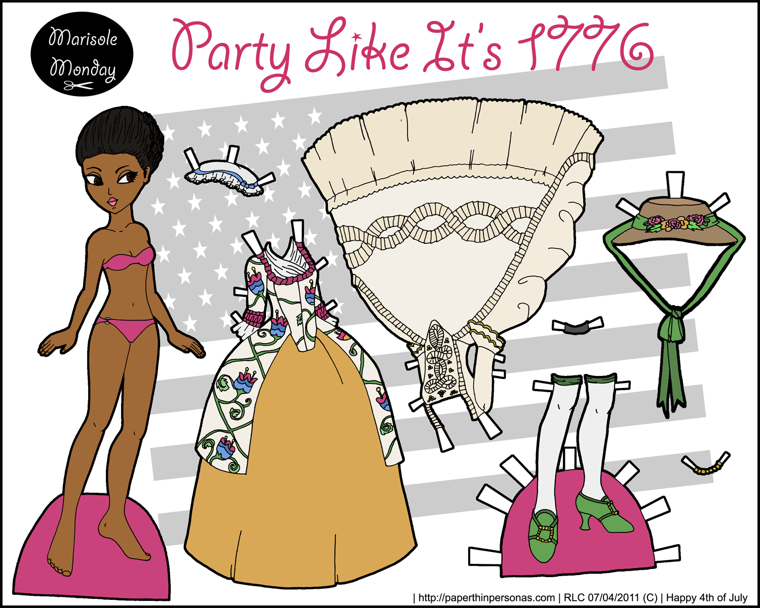 A historical paper doll wearing 18th century clothing celebrating the 4th of July in color whose free to print from paperthinpersonas.com.