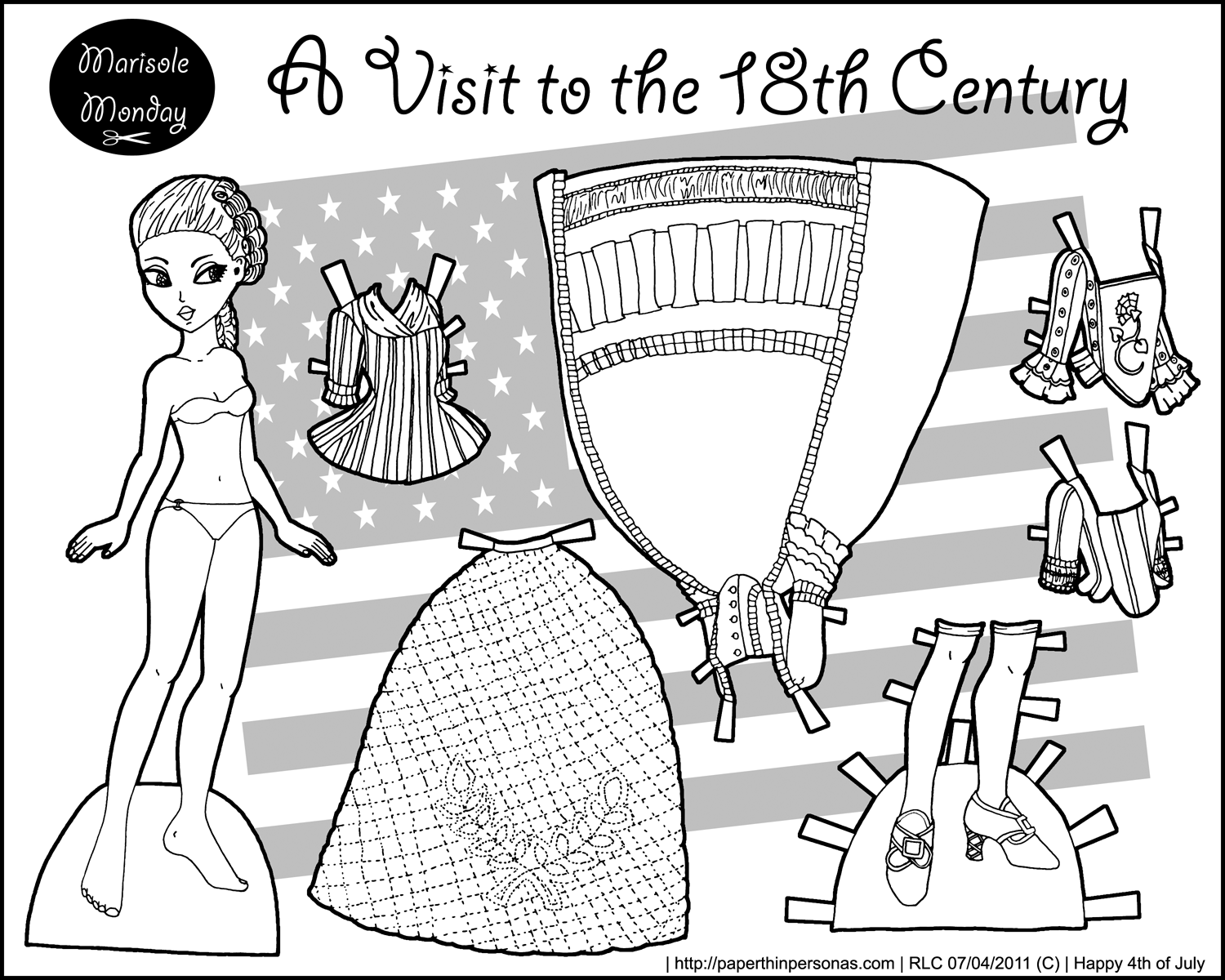 A historical paper doll wearing 18th century clothing celebrating the 4th of July whose free to print from paperthinpersonas.com.