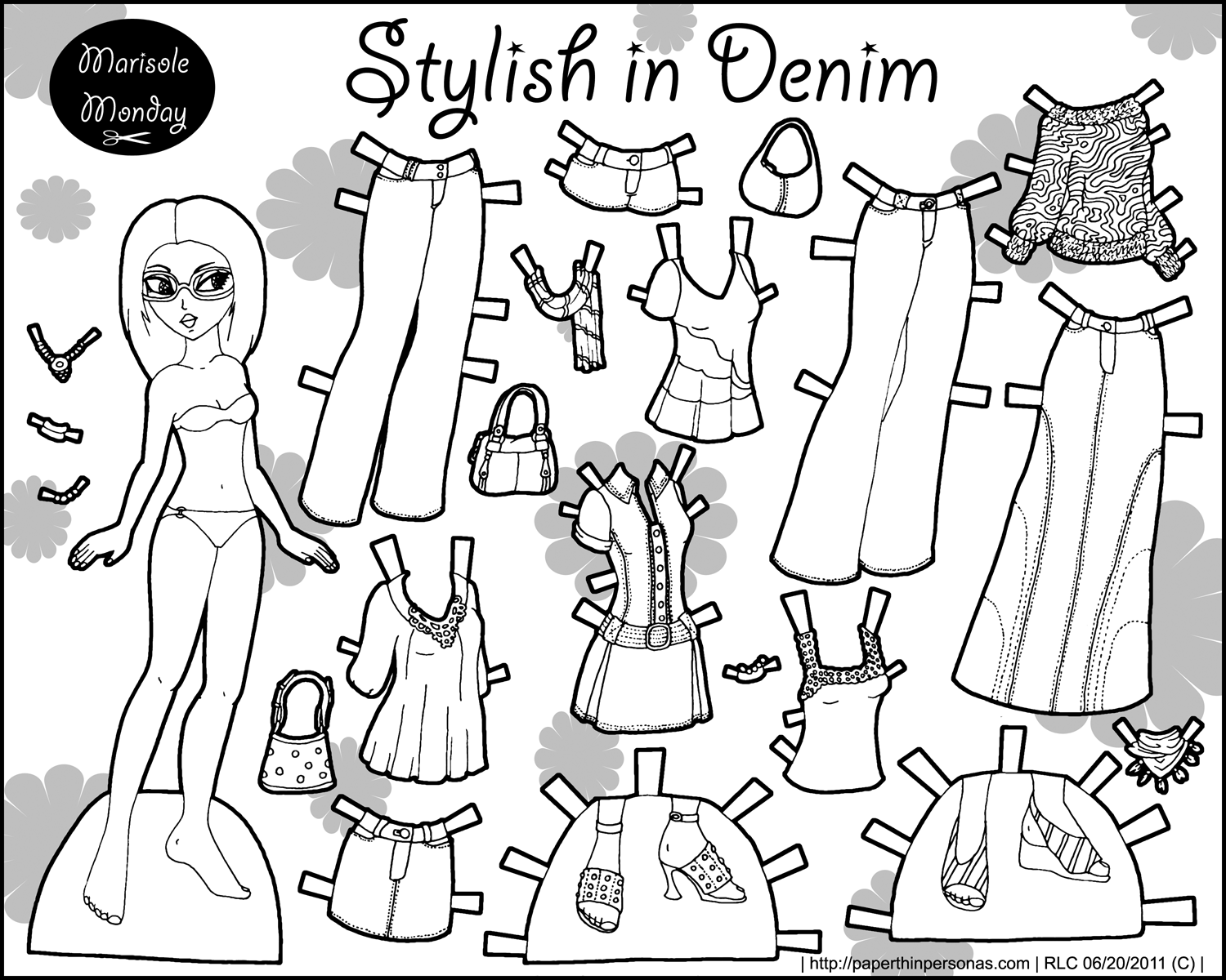 black and white marisole monday paper dolls today paper thin personas paper thin personas. Black Bedroom Furniture Sets. Home Design Ideas