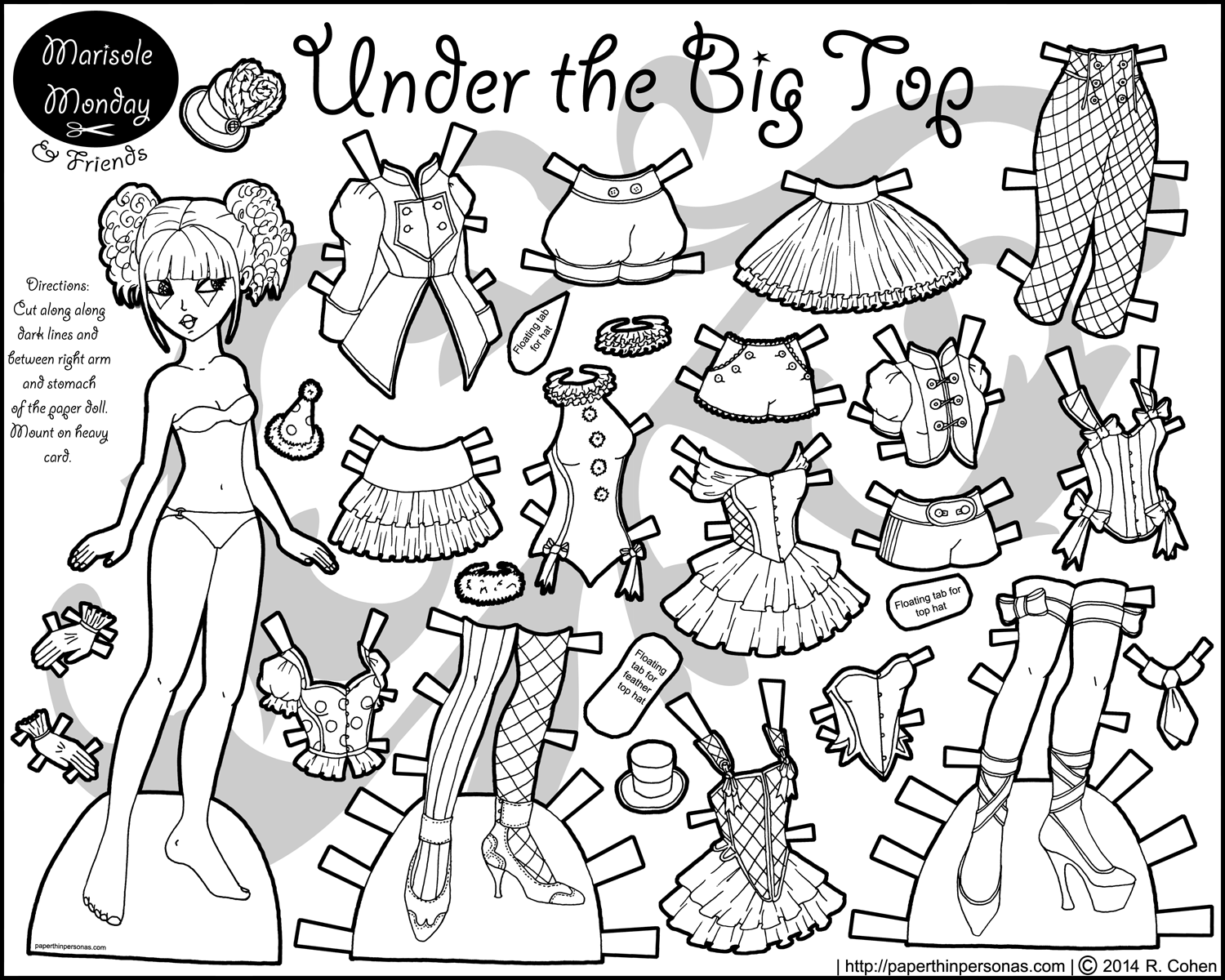 Circus paper doll for coloring paper thin personas for Paper doll coloring page