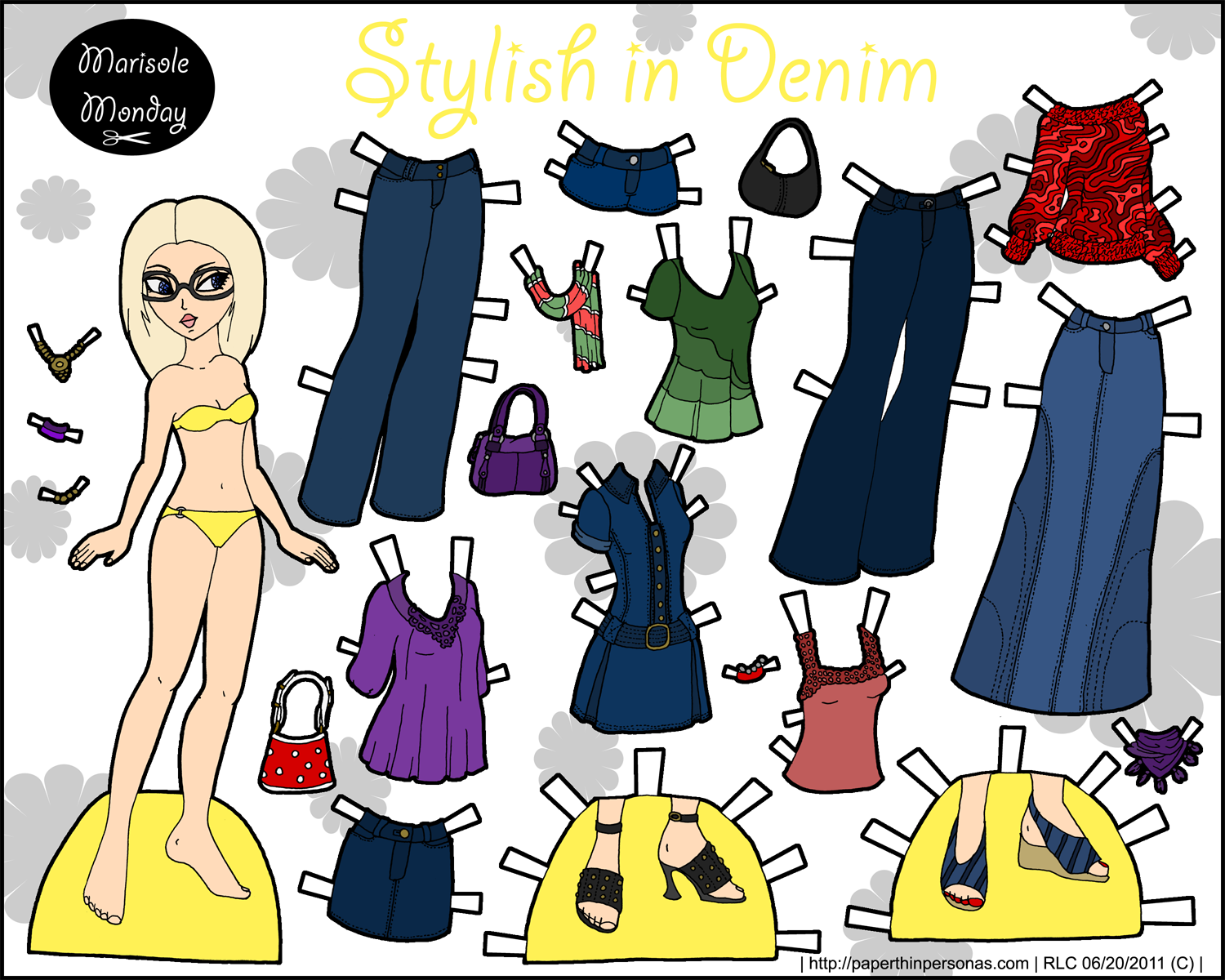 Blond printable paper doll with jeans and other modern clothing items