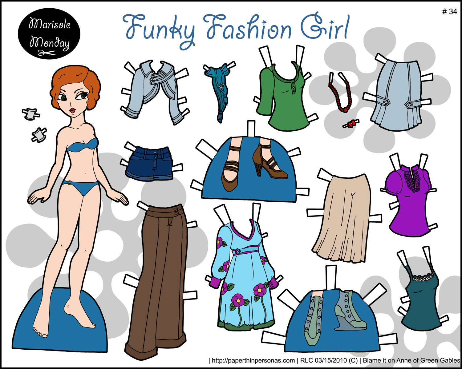 Redhead printable paper doll with boutique style fashions