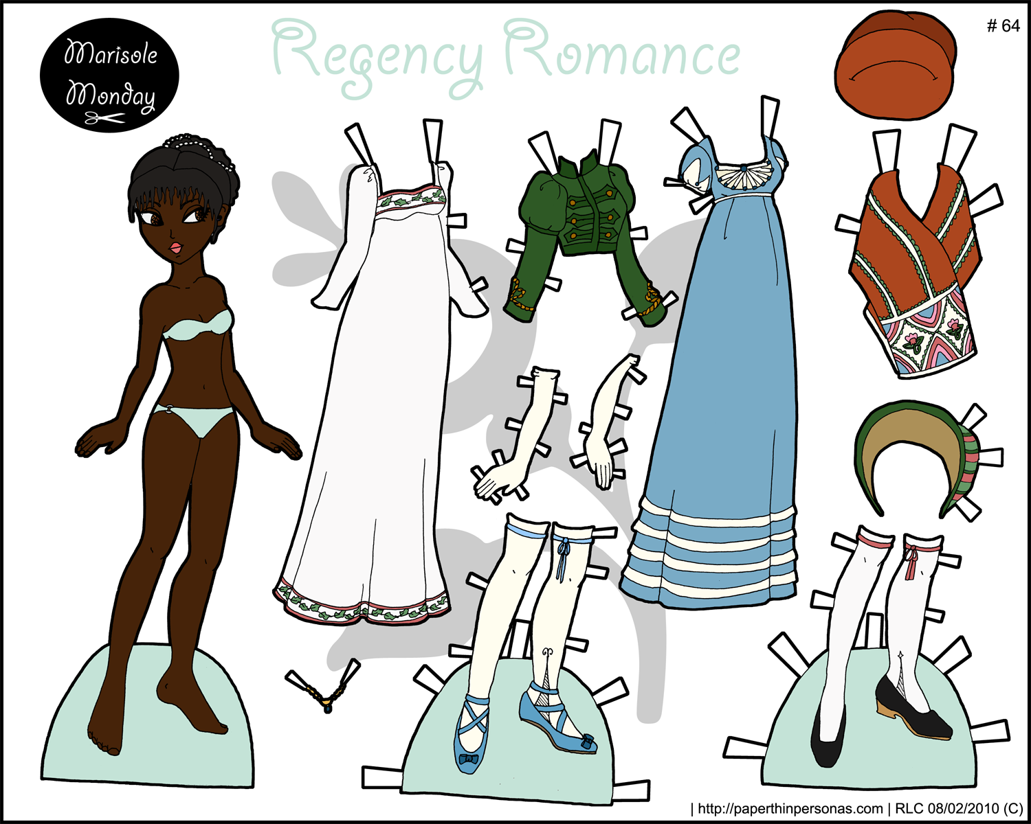 A historical paper doll with regency fashions in color- free to print from paperthinpersonas.com.