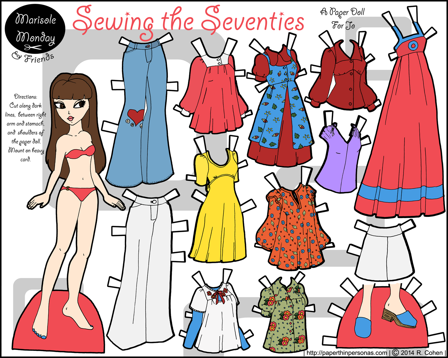 A historical paper doll with 1970s fashions from home sewing patterns in color- free to print from paperthinpersonas.com.