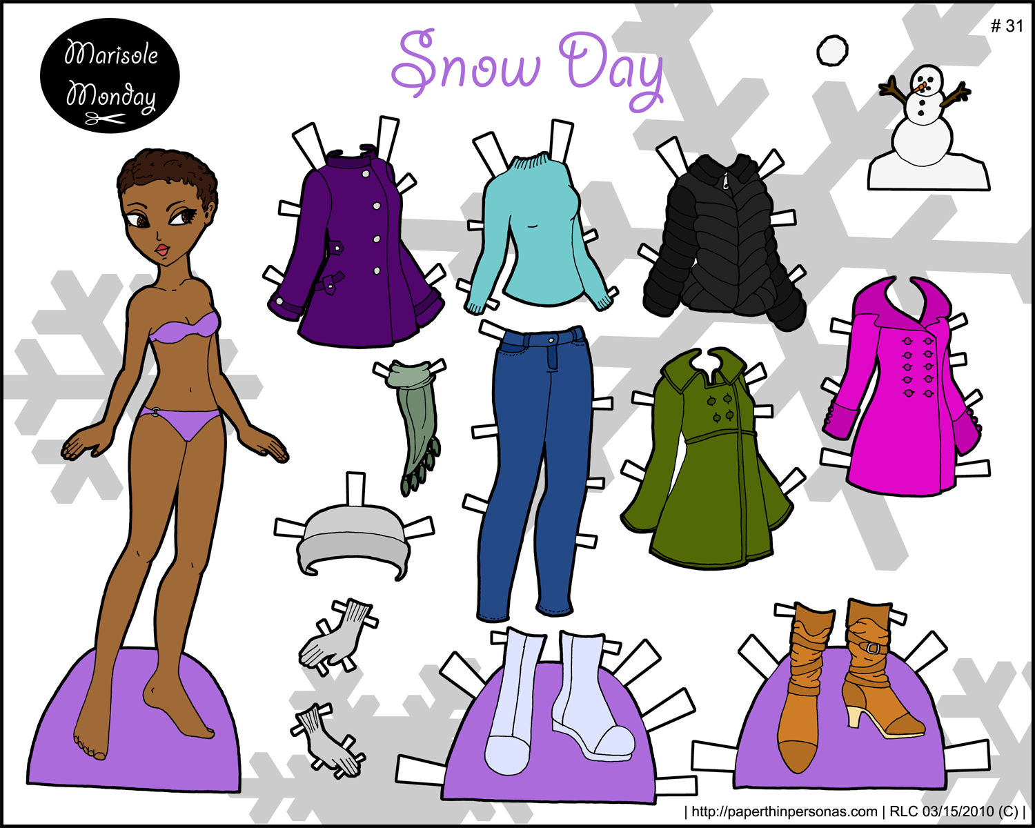 Paper Doll with a winter wardrobe and a snowman to print.