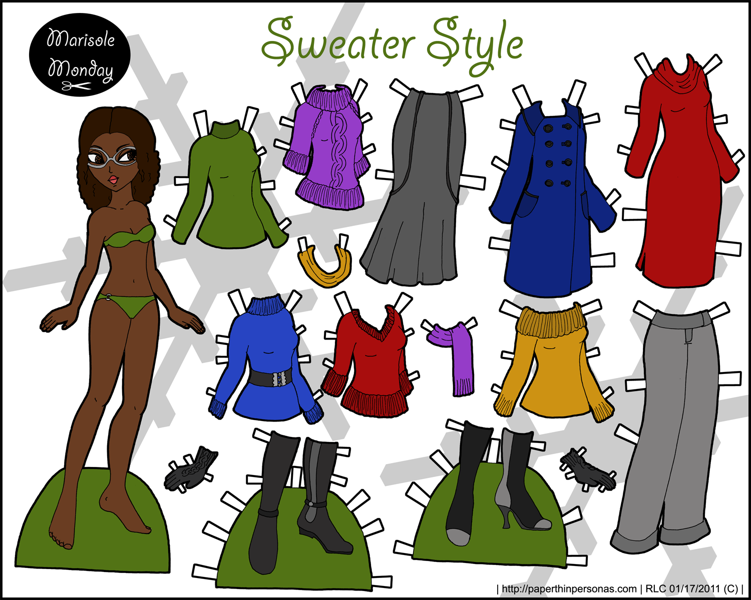 Thumbnail link to a printable paper doll with a winter wardrobe and brown curly hair.