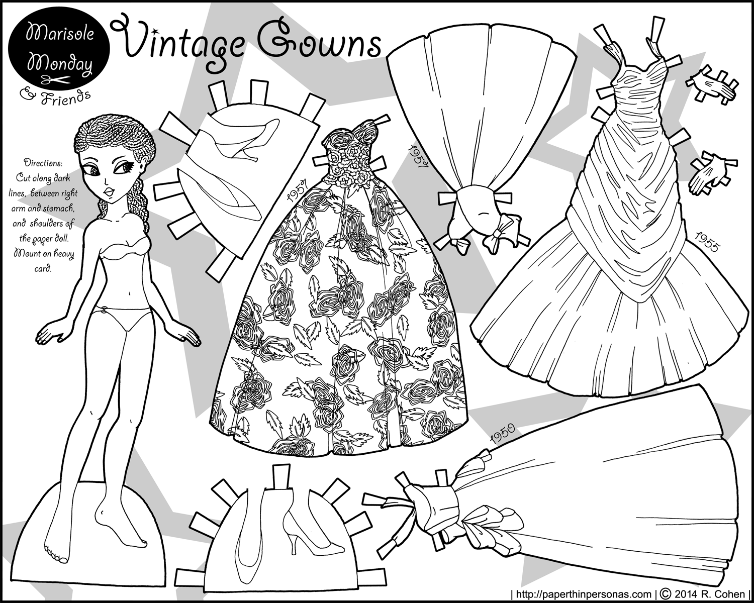 A black paper doll with 1950s vintage ballgowns to color- free to print from paperthinpersonas.com.