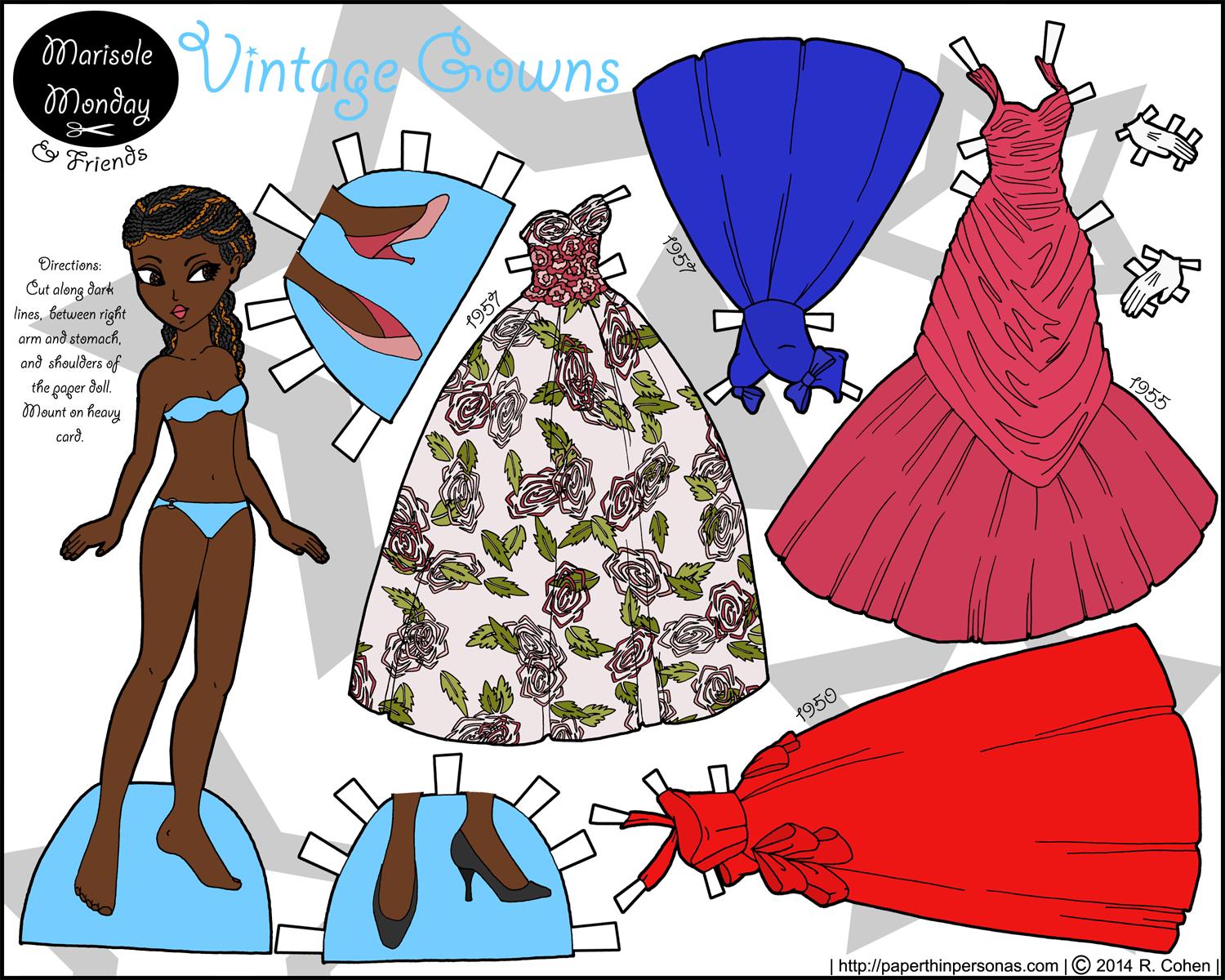 A black paper doll with 1950s ballgowns in color- free to print from paperthinpersonas.com.