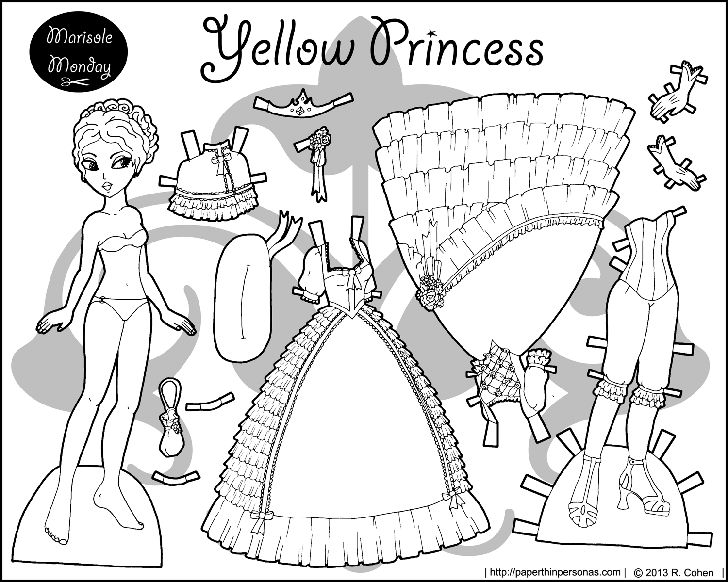 Four Paper Dolls in Black and White for Coloring