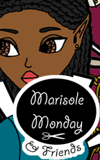 Marisole Monday and Friends Logo and Link to a printable fantasy elf paper doll with brown skin and four dresses