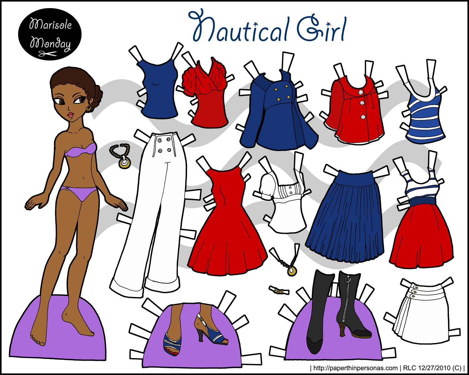 Nautical fashion inspired paper doll to print