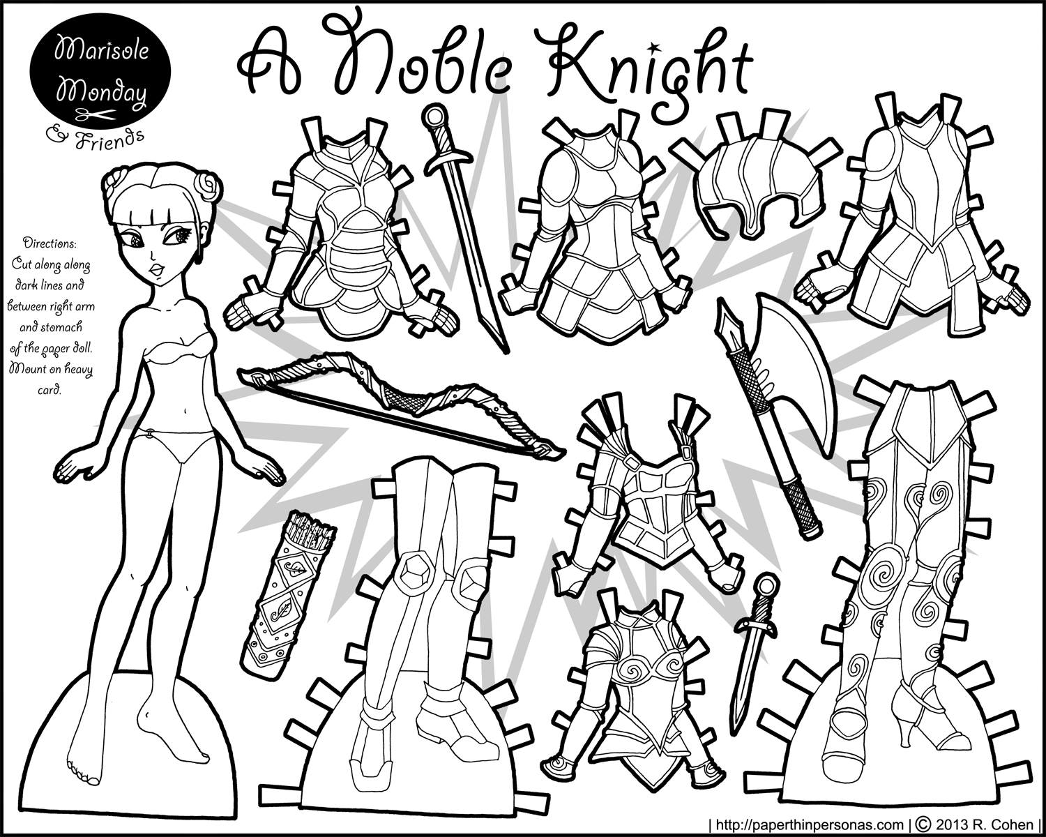 Marisole monday friends a noble knight paper thin for Paper doll coloring page