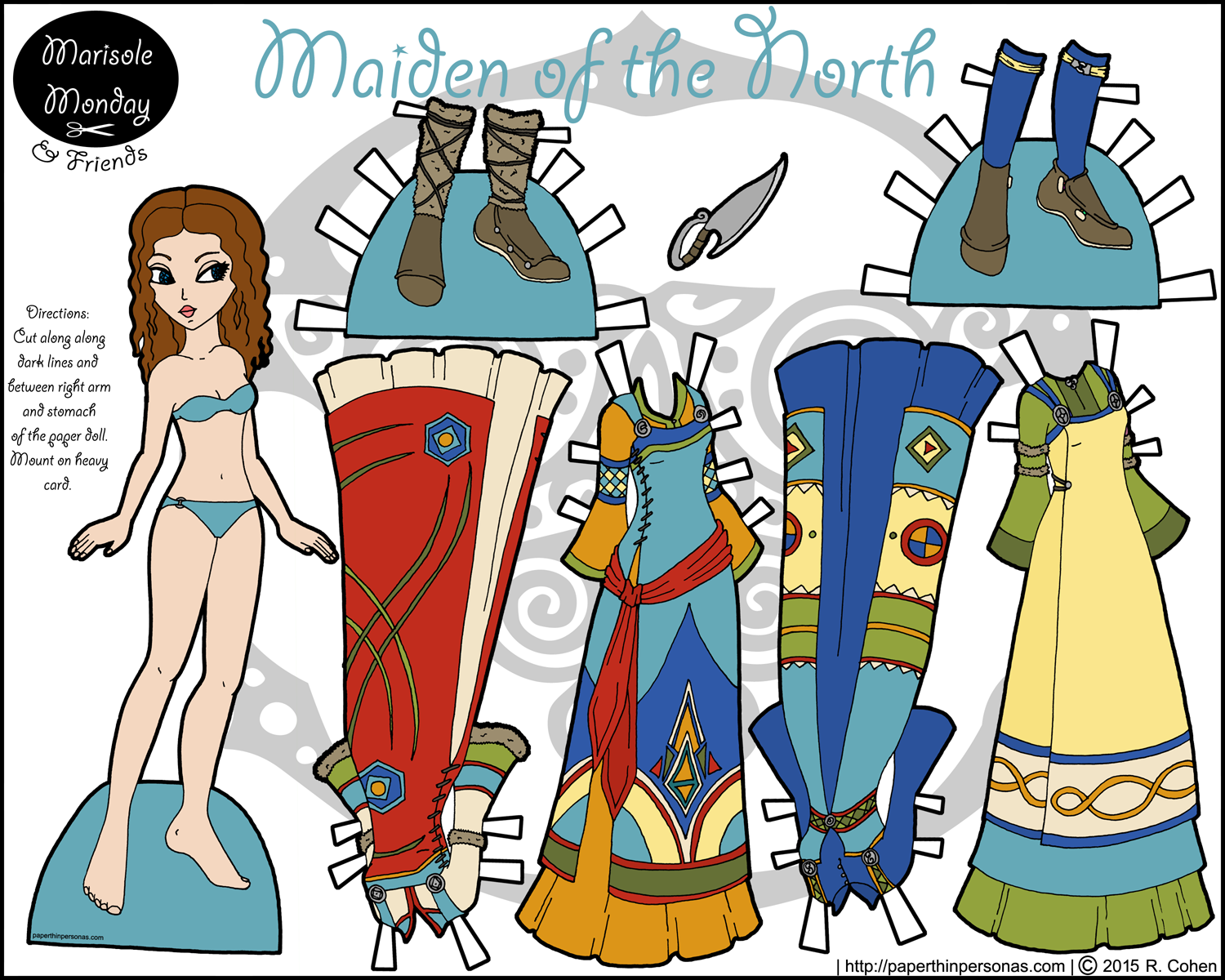 A fantasy printable paper doll inspired by Vikings with four dresses, two pairs of shoes and curly brown hair. Free to print from PaperThinPersonas.com