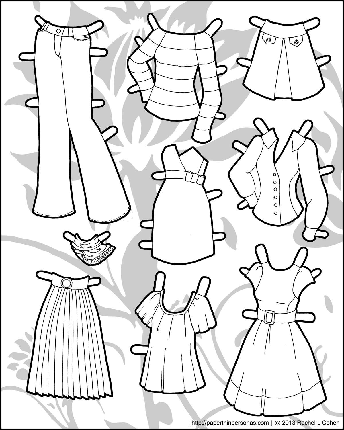 Dramatic image within paper doll clothes printable