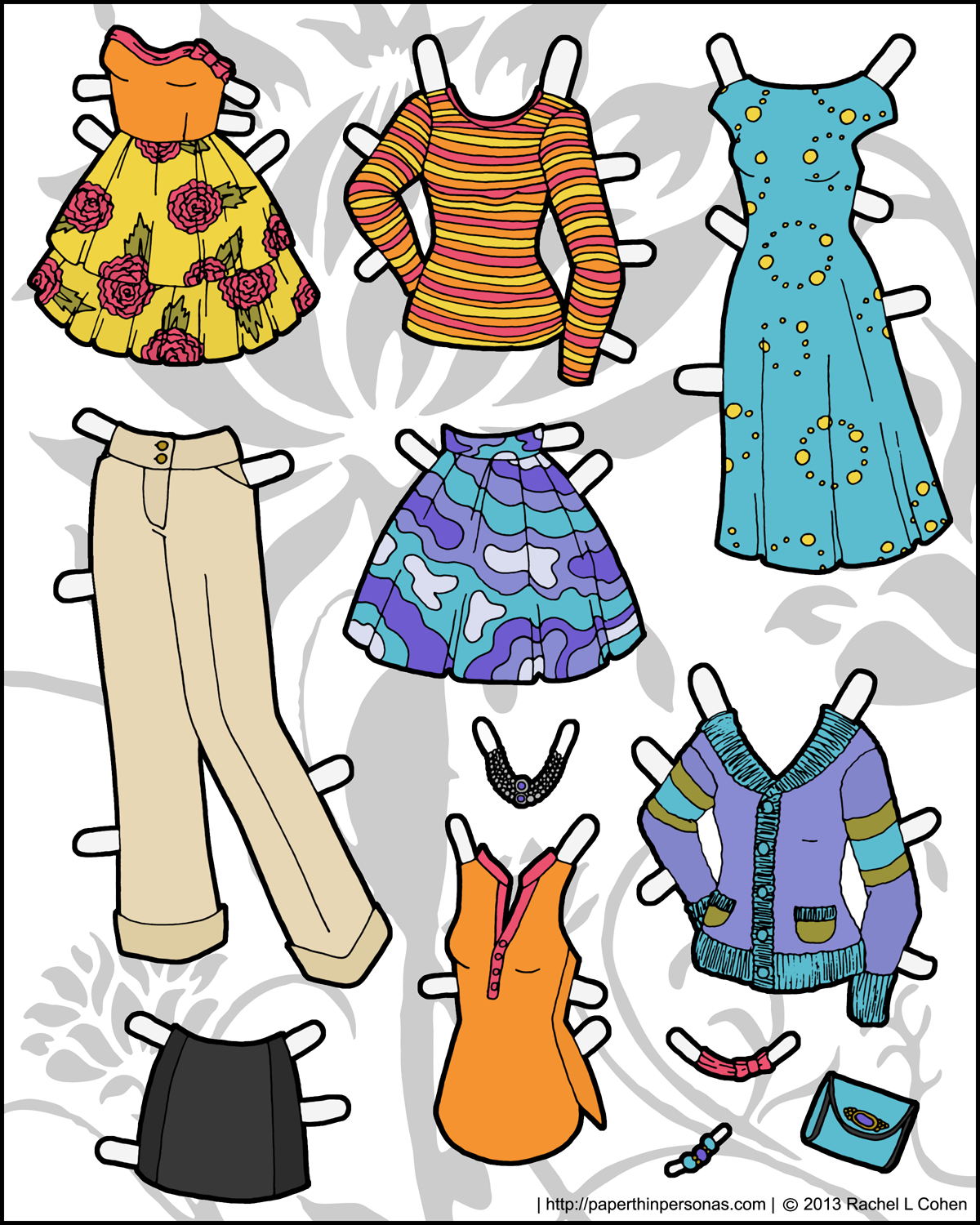 It is a picture of Comprehensive Paper Doll Clothing Printables