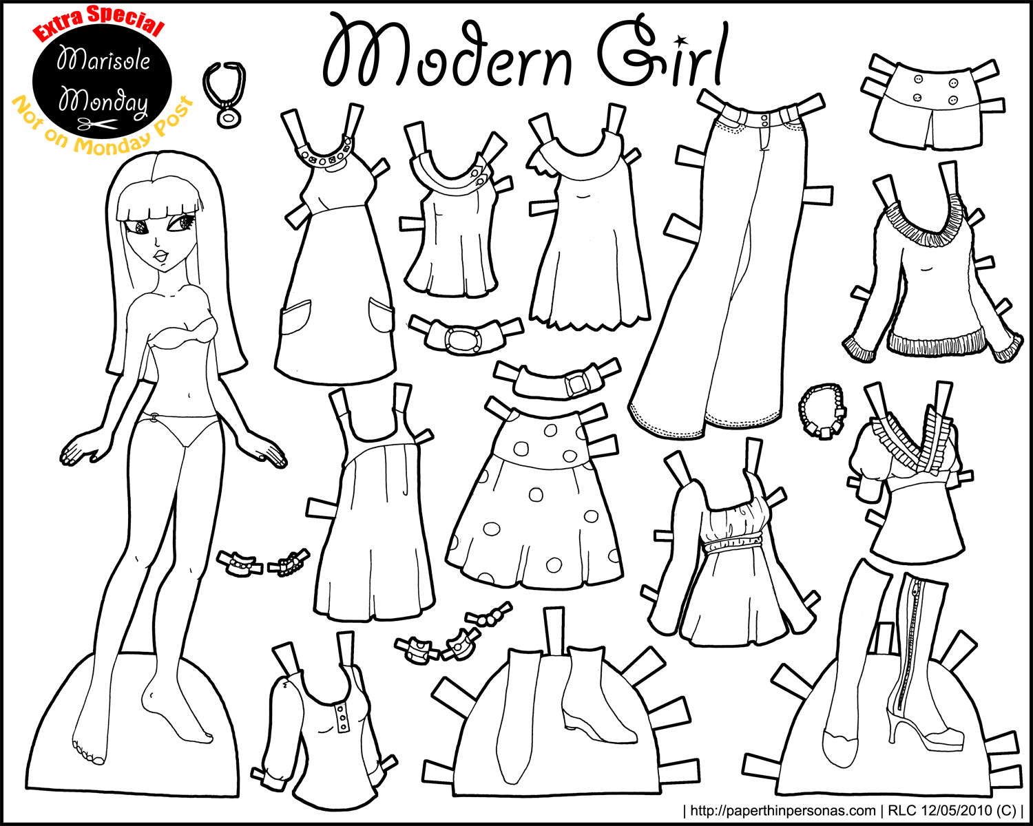 paper doll printable marisole black and white 1500 1200 file under paper thin. Black Bedroom Furniture Sets. Home Design Ideas
