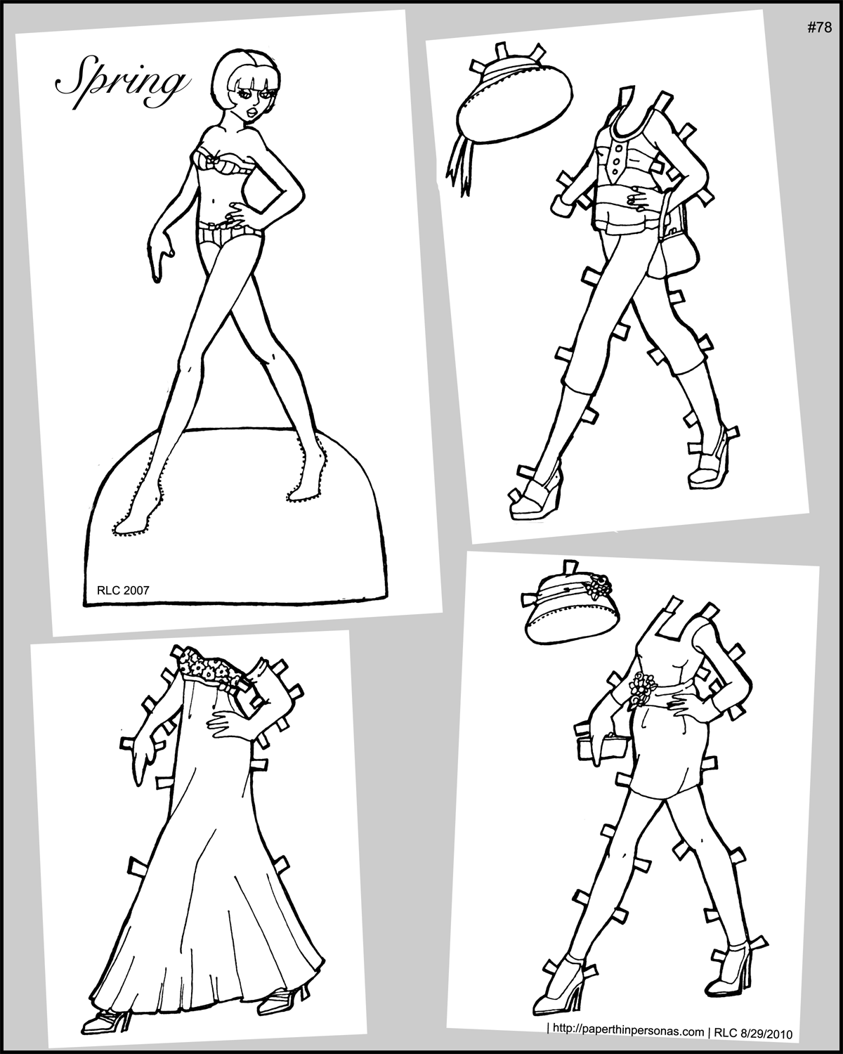 Thumbnail of a printable paper doll wearing contemporary spring fashions
