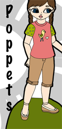 Paradisea: A Poppet Paper Doll with capris and a t-shirt.