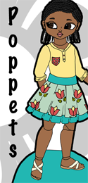 Petal, a printable paper doll of little black girl with braids and her clothes