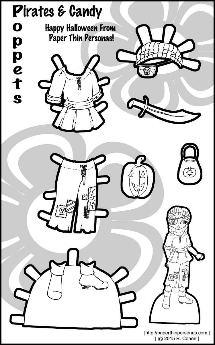 A Paper Doll Pirate costume for Halloween