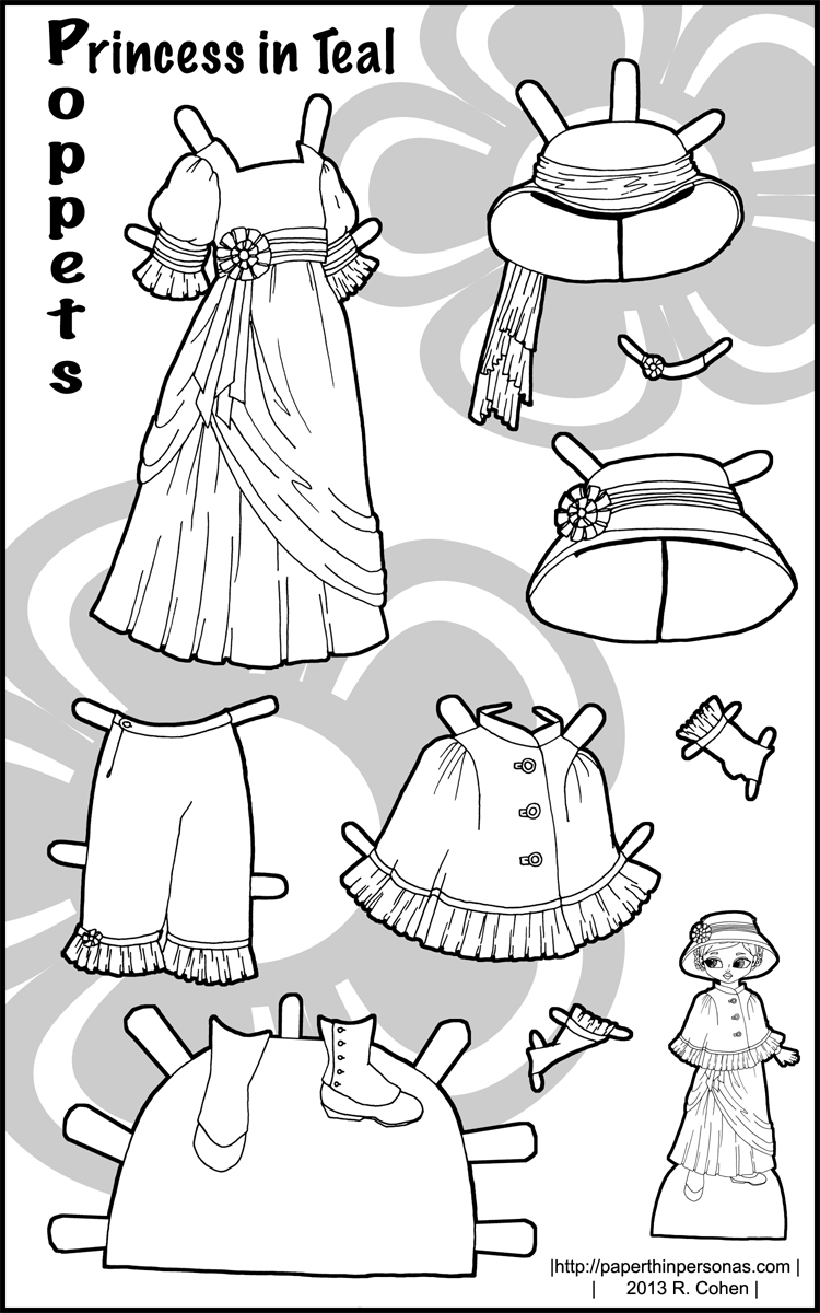 full color printable paper doll clothes for the Popper series