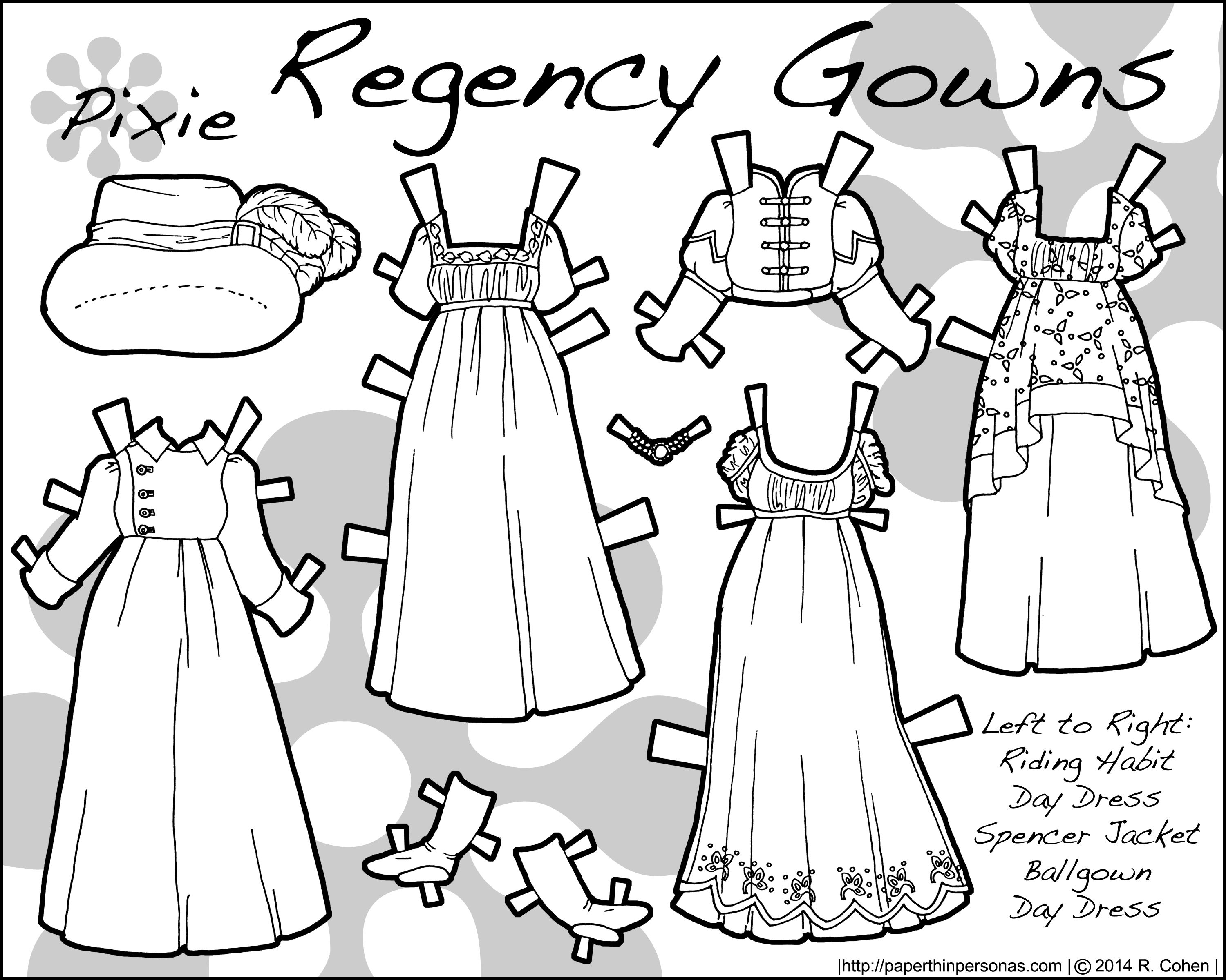 Regency fashions for a paper doll to color- free to print from paperthinpersonas.com.